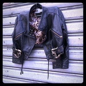 Arrogant cat cropped motorcycle jacket